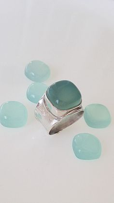 Sterling Silver, Chalcedony Wide Band Ring, Size 5 1/4 by CopperfoxGemsJewelry on Etsy https://www.etsy.com/listing/243057423/sterling-silver-chalcedony-wide-band