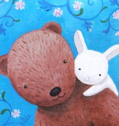 Bear & Bunny Love Illustration Print Rustic Woodland by mikaart, $8.99