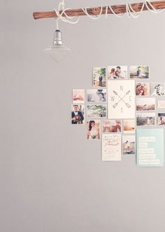DIY lights and engagement photo display inspiration for couples // Wedding reception inspiration