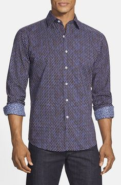 Bugatchi Shaped Fit Micro Paisley Sport Shirt available at #Nordstrom
