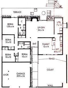 1963 Lucas Valley Style Eichler Floor Plan