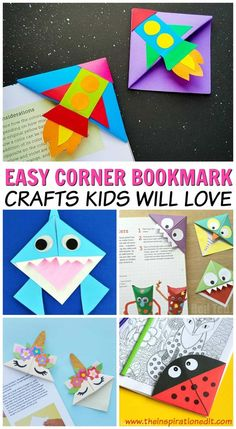 Corner Bookmarks Kids Will Love · The Inspiration Edit - - If you're looking for a fun and easy paper craft to make with the kids then these corner bookmark ideas are sure to be a huge hit! These corner bookmarks. Paper Bookmarks, Bookmarks Kids, Corner Bookmarks, Paper Crafts For Kids, Easy Crafts For Kids, Diy For Kids, Paper Crafting, Crafts For Children, Home Craft Ideas