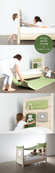 amazing kids bed design. check out this page to see the bed with the cover. makes me want to do it for my childs bed. Studio ToutPetit: Sleepy Sundays * Dutch Design for Kids