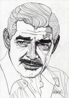 Clark Gable - Original Signed Paul Nelson-Esch Drawing Art pencil Illustration portraiture unique decor home actor hollywood retro Free S&H