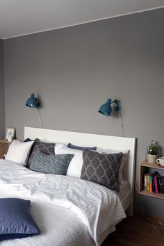 wall lamps + bedside box shelf | hitta hem- love the grey and teal and white together.