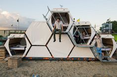 Stackable cells allow you to sleep on top of your friends at music festivals | The Verge