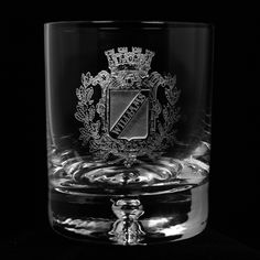 Engraved Crystal Rocks Whiskey, Scotch, Bourbon Glasses, Coat of Arms, Family Crest SET OF 2 (crest). Engraved Family Crest Whiskey Glass or Coat of Arms Whiskey Glass is custom personalized with your name featured in a beautiful coat of armor design. Deeply carved using our sand carving technique, each whiskey, scotch, bourbon rocks glass or crystal double old-fasioned glass is meticulously custom made to order making it the perfect gift for those seeking unique gift ideas for whiskey...