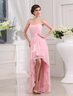 blush pink high low pleated chiffon bridesmaid dress! Why didn't I think of High low before - Could never decide between short or long.