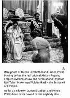 An historic event. ⭐️ Queen Elizabeth II and Prince Phillip, UK as they bowed to then Empress Menen Asfaw consort of the Ethiopian Empire and her legendary husband Emperor Haile Selassie. He was said to be a direct descendant of the Queen of Sheba and the biblical King Solomon, of Israel. #Respect #Noalternativefacts