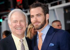 Chris Pine with his father Robert Pine - Hollywood premiere - Star Trek - Into Darkness - May 2013. ---  Robert Pine (b. July 10, 1941) is an American actor who is best known as Sgt. Joseph Getraer on the hit NBC television series CHiPs.
