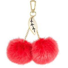 Cherries Pom Pom Keyring by Skinnydip ($13) ❤ liked on Polyvore featuring accessories, red and pom pom key ring