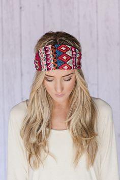 Red Tribal Wide Headband Cotton Aztec Head Wrap | three bird nest  #threebirdnest #springintoit