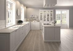 New Kitchen Cabinets Blue Gray Ideas Open Plan Kitchen Living Room, Home Decor Kitchen, Kitchen Interior, New Kitchen, Kitchen White, Country Kitchen, Kitchen Ideas, Kitchen Wall Colors, Kitchen Layout