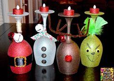 Wine Glasses Grinch, Santa, Snowman and Reindeer.