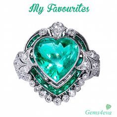gems4eva💚MY FAVOURITES💚 Crafted in platinum, this Art Deco style ring chants true love and uniqueness. This piece features stunning 5.87ct Columbian heart shape emerald surrounded by 1.03cts of additional emeralds. Ornate filigree & .85cts of G-H SI2 graded diamonds complete the piece for an elevated visual appeal on the finger - Beautiful 😍 Credit 1st Dibs - HH Jewels - Miami