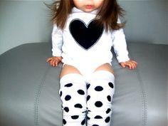 Black Heart Girls One Piece White Polka Dots Stripe Valentine's Day