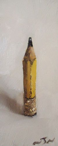 Original Oil Painting - Yellow Pencil - Contemporary Miniature Still Life Art