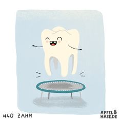 365 doodles: tooth/Zahn  Illustration, Zahn, tooth, trampoline, Trampolin, hüpfen, springen, daily drawing, apfelhase, fun, happy, sketchbook, drawing