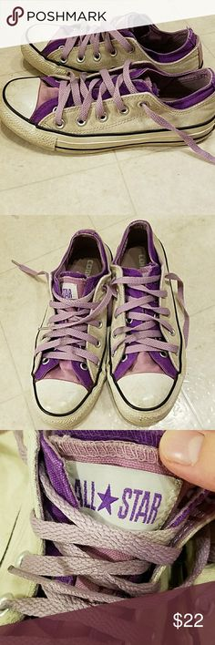Purple converse Fun Purple 2 toned converse. They are worn but still a lot of wear in them! Pictures say all 😊 Shoes Sneakers