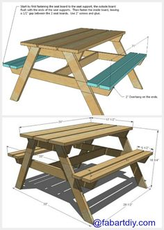 DIY Sandbox Picnic Table Two-In-One for Kids Outdoor fun, a table with built-in benches allows children to play without putting sand all over the garden. Diy Picnic Table, Wooden Picnic Tables, Picnic Table Plans, Wooden High Chairs, Woodworking Table Plans, Woodworking Projects Diy, Woodworking Videos, Garden Table And Chairs, Outdoor Garden Furniture