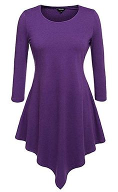 Halife Womens Handkerchief Hem Tunic Tops for Leggings for Women 3 4 Sleeve M Purple * Want to know more, click on the image.