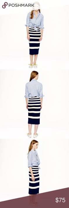 J. CREW COLLECTION Striped Midi Skirt Very refined cotton—it's structured yet stretchy—gives this skirt a sturdiness that makes it extremely flattering (and the engineered stripes don't hurt either). Its long-and-lean silhouette looks amazing with tucked-in tops or, better yet, our matching cropped sweater.  Cotton. Machine wash. Import. J. Crew Skirts Midi