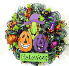 Happy Halloween Trick Or Treat ,Witch w Pumpkin Deco Mesh Wreath by Crazyboutdeco on Etsy
