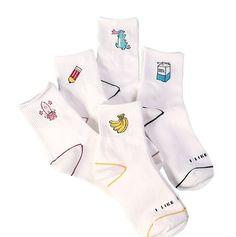b9529f6a54e38 Mode Meias Drôle Chaussettes Femmes Crayon Banane Lait Imprimé Harajuku Chaussettes  Chaussettes Drôles