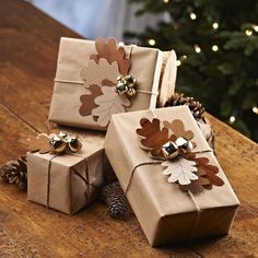 1.    Carefully wrap your presents with the brown paper.  2.    From the Acorn Leaf Template cut out a selection of small and large leaves from your assorted brown card. Punch holes in them so they can be threaded onto the brown string.  3.    Tie the garden string around the wrapped presents, thread on the leaves and tie a knot.  4.    With a glue gun attach the gold bells to the center of the leaves.