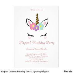 Invitación mágica del cumpleaños del unicornio | Zazzle.es