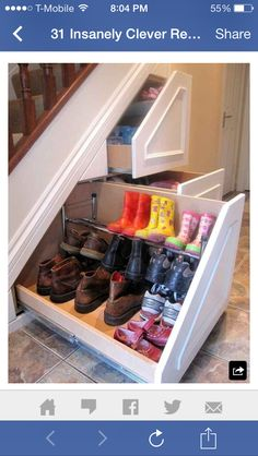 Insanely Clever Remodeling Ideas For Your New Home Shoe storage. Under stairs storage idea. I need this so bad. Under stairs storage idea. I need this so bad. Home Renovation, Home Remodeling, Basement Renovations, Bathroom Remodeling, Home Organization, Organizing Shoes, Organizing Ideas, My Dream Home, Dream Job
