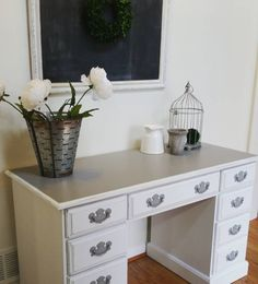 Desk Makeover - two-toned desk painted with Rethunk Junk cotton (white) and driftwood (gray)