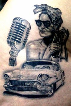 pin up tattoo, realistic tattoo, Cadillac tattoo, 50's tattoo, fifties tattoo, black and grey, portrait, coke, 50's microphone
