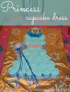 frozen birthday {  princess cupcake dress tutorial} blue elsa dress cake