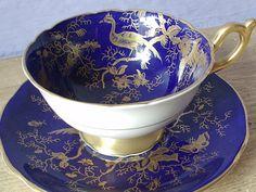 Antique Coalport English tea cup set, vintage blue and gold tea cup and saucer, gold bird tea cup, bone china tea set, blue tea cup