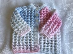 Hand Knitted Baby Cardigan, White Pastel Mix 0 - 3 months £6.99