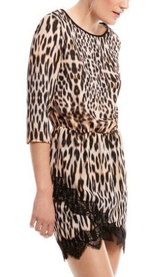Animal Print Contrast Lace Hem Dress