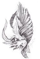 cat and bird wing by inkaddicted4life