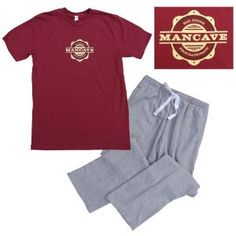 Mancave Eat Drink Procrastinate Short Sleeve Red Burgundy and Grey Pajama Loungewear Gift Set for Men (Apparel)  http://documentaries.me.uk/other.php?p=B0089COSKY  B0089COSKY
