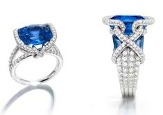 Chaumet. Gold, diamond and sapphire ring featuring a 10.69ct center stone.