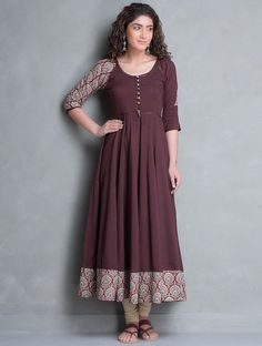 Buy Burgundy Beige Bagru Printed Cotton Kalidar Kurta Apparel Tunics & Kurtas Banjara Collection Inspired by Tribes Online at Jaypore.com