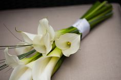 White Calla Lily and bear grass sheaf bouquet