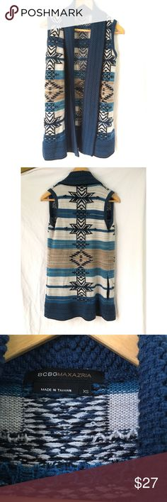 "BCBGMaxazria sweater vest Aztec tribal Excellent used condition. Vest has pockets! Length 29"" BCBGMaxAzria Sweaters"