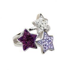 Ring 925 Sterling Silber rhodiniert mit Kristallsteinen crystal, violet u. amethyst