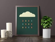 $2  Cloud Print, Rain Poster, Rain Cloud Print, Minimalist Art, Rain Cloud Printable Art, Cloud Wall Decor, Minimalist Decor, INSTANT DOWNLOAD
