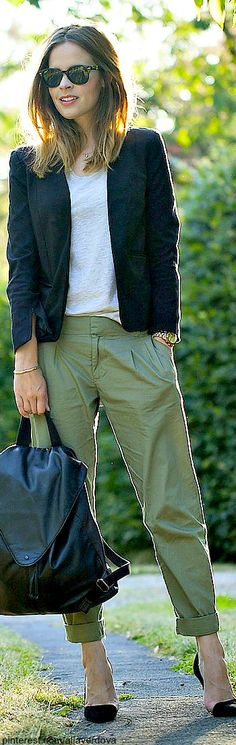 Street style casual beige pants with white t-shirt black jacket