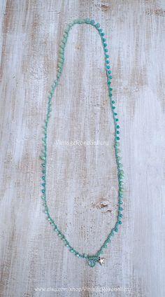Aqua Mint 6 Wrap Crocheted Bracelet, Crochet Boho Chic Necklace, Summer Boho Necklace by VintageRoseGallery Boho Necklace, Boho Jewelry, Jewlery, Unique Jewelry, Crochet Bracelet, Vintage Roses, Boho Chic, Aqua, Mint