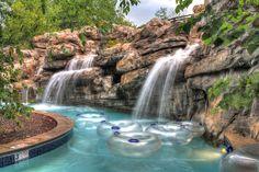 Fun lazy river pool at RiverStone Resort & Spa (Pigeon Forge, TN) - ResortsandLodges.com #travel #vacation #family