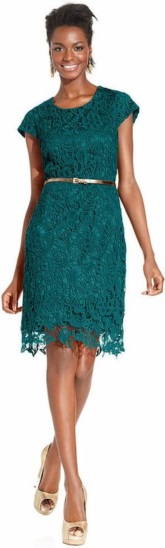 Macy's Luxology Dress, Cap-Sleeve Belted Crochet Lace on shopstyle.com