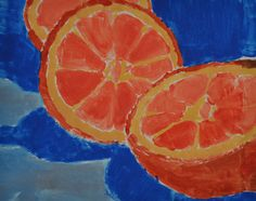 Monochromatic fruits: complementary color and value painting for 6th grade (apples, bananas, oranges)